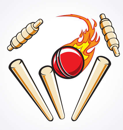 Cricket wicket stumps hit by flaming ball out out, vector illustration