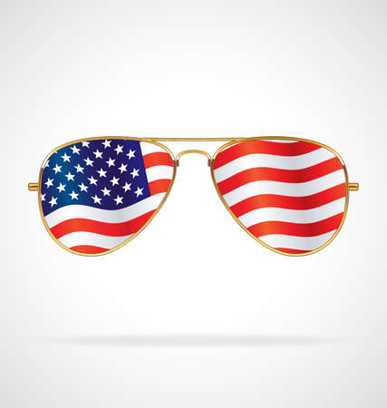 Cool gold rim frames Aviator Sunglasses with USA flag in lenses vector illustration