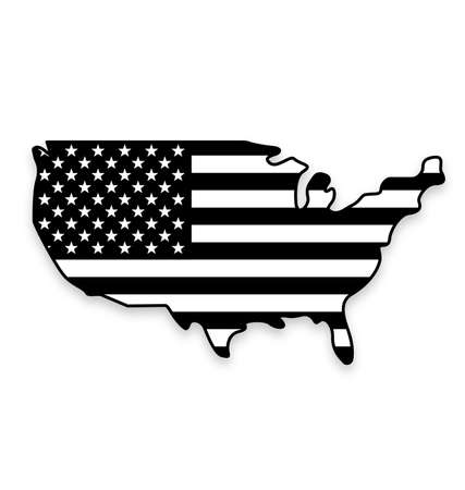 USA America flag in map symbol using accurate correct usa flag black and white vector Vector Illustration