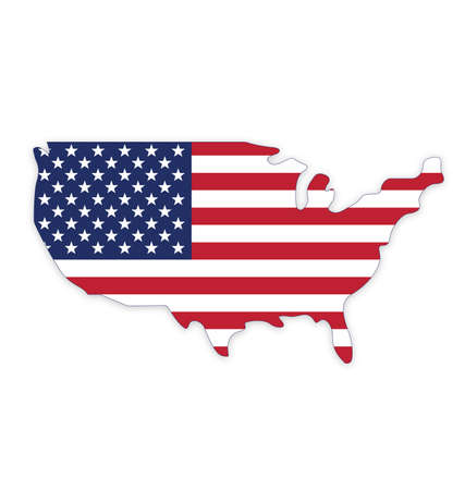 USA America flag in map symbol using accurate correct usa flag vector Vector Illustration
