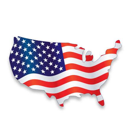 usa america flag flying in simplified map symbol logo