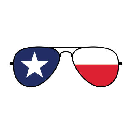 Cool simple Aviator Sunglasses with Texas TX state flag in lenses vector Vector Illustration