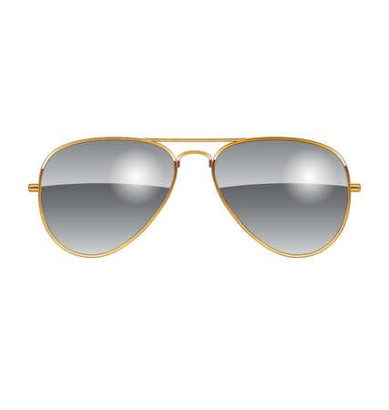 Cool desert chrome Aviator Sunglasses with green lenses and gold frames vector