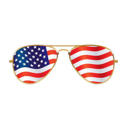 Cool gold rim frames Aviator Sunglasses with USA flag in lenses vector Ilustração Vetorial