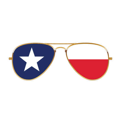 Cool gold rim frames Aviator Sunglasses with Texas TX state flag in lenses vector