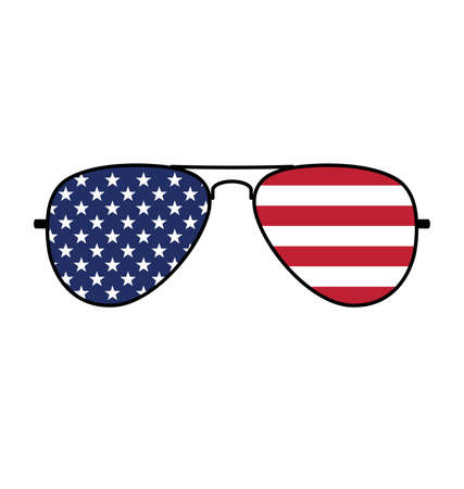 Cool simple Aviator Sunglasses with USA flag in lenses vector