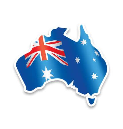Australian Flag in simplified Map of Australia vector element