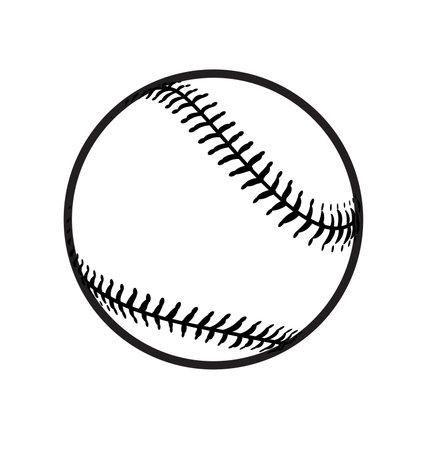 simple black and white baseball base ball outline vector Ilustração Vetorial