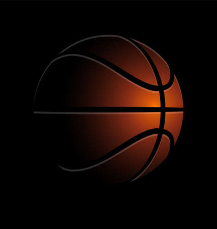 shaded stylized basketball in the dark simple illustration icon on black background vector