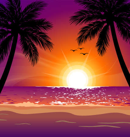 warm tropical beach sunset with palm trees vector illustration