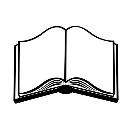 open book blank black and white vector illustration
