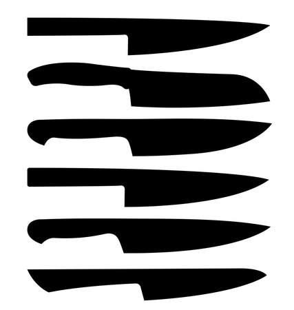 various chefs knife silhouette vector set Vetores