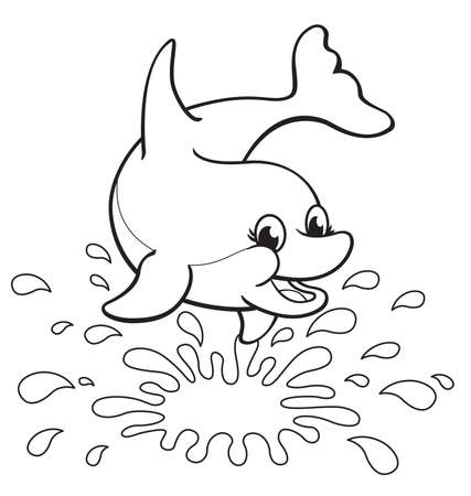 fun happy cute dolphin with splash for coloring colouring in activity book image vector