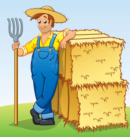 cartoon farmer with pitchfork leaning on 2 hay bales vector