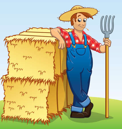 cartoon farmer character with pitchfork and hay bales vector