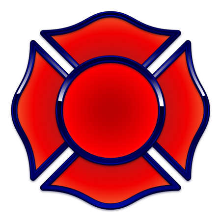 Blank Fire Department Logo base red with dark blue chrome trim vector