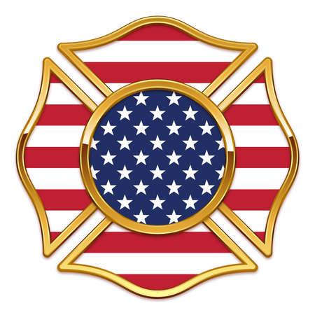 Blank Fire Department Logo base gold chrome trim with USA united states of america american flag vector