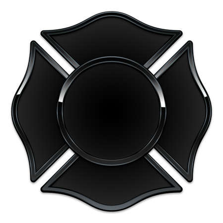 blank fire department rescue logo base black with black trim vector