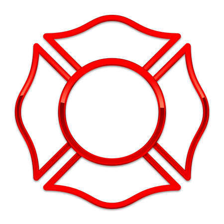 blank fire rescue base red gloss chrome trim vector