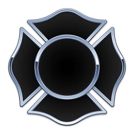 blank fire rescue black base chrome trim vector