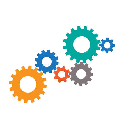 6 gear array cluster assembly silhouette abstract concept vector Vecteurs