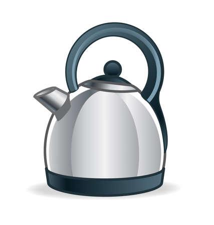 modern metal chrome kitchen kettle cartoon illustration vector