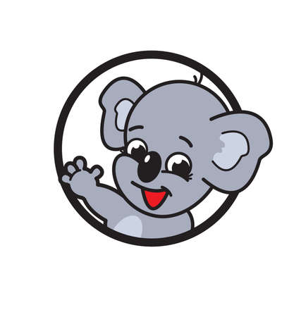 smiling happy cartoon koala character waving in circle window vector