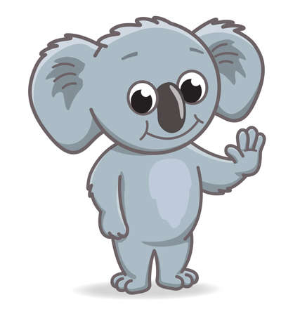 smiling happy cartoon koala character standing and waving