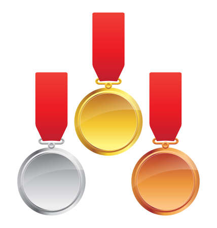 Gold Silver and Bronze Olympic Sports Medals vector
