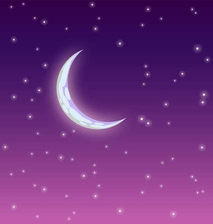 Starry Moonlit Night with crescent moon purple vector image
