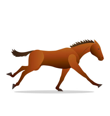 stylized galloping horse illustration vector