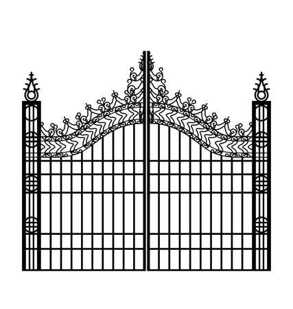 fancy elegant ornate victorian wrought iron gates set black silhouette vector Vektorgrafik