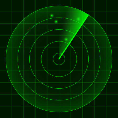 simple radar screen green readout on black background with blips vector