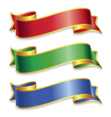 wide ribbons banner flowing scroll elements with gold trim red green blue vector