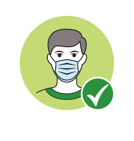 man with facemask and green tick checkmark against virus