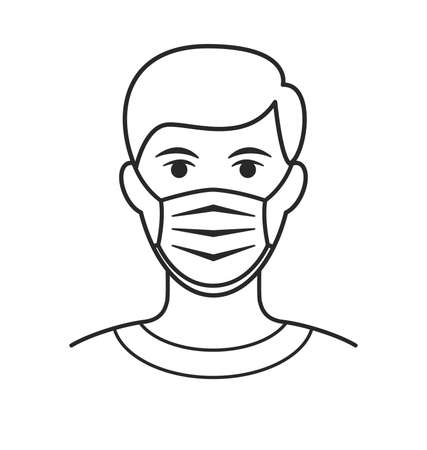 man with facemask face mask against virus