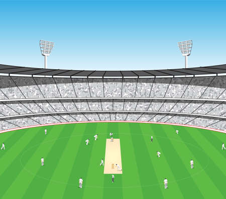 cricket game oval sports stadium arena vector