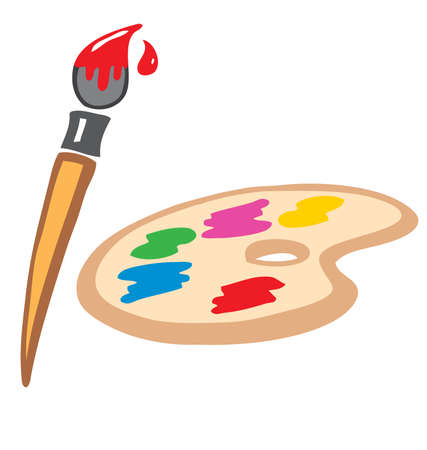 hand painted painters art palette and brush vector elements