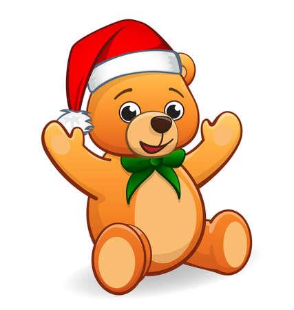 cute cuddly fluffy teddy bear with christmas santa hat and green bow sitting vector