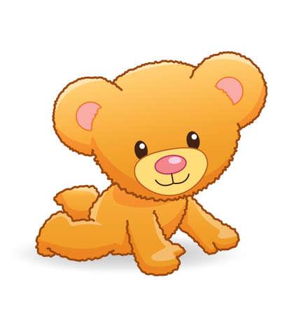 cute cuddly golden brown teddy bear crawling vector