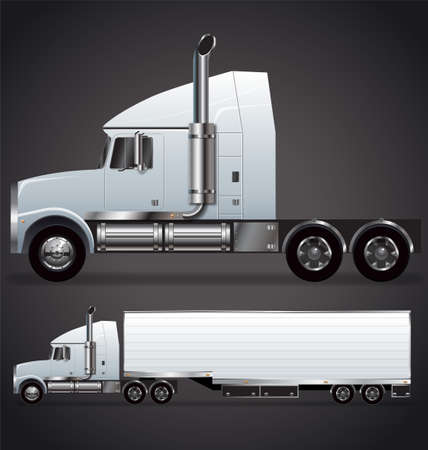Semi trailer truck long nose with or without trailer vector Vector Illustration