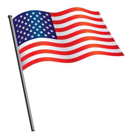 USA flag flying waving on flag pole silk vector