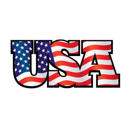 patriotic flying USA united states of America flag in USA text tshirt graphic design vector