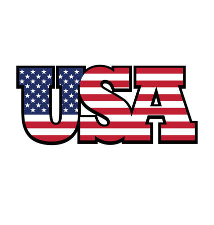 USA flag in USA text united states of america tshirt graphic design vector Vector Illustration