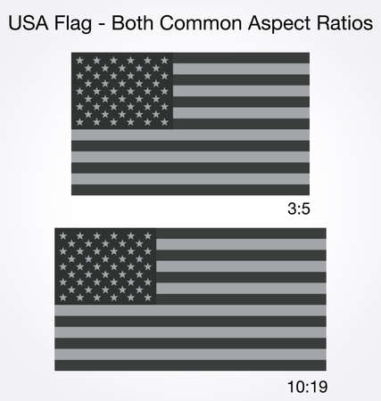 Accurate correct grayscale USA Flags both common sizes aspect ratios vector Vector Illustration