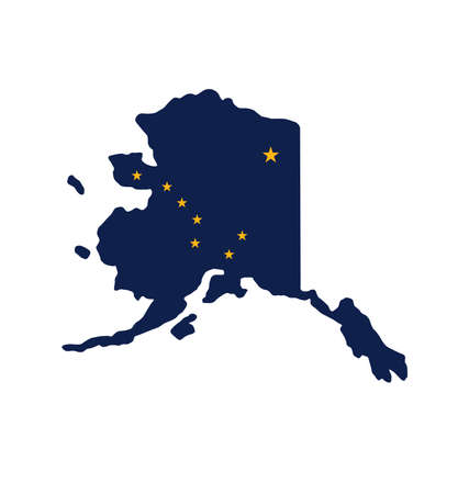 Alaska ak flag in state map shape simplified vector