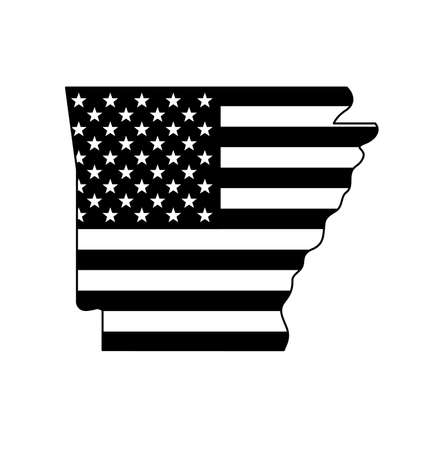 Arkansas state shape with USA United States of America flag Black and White vector