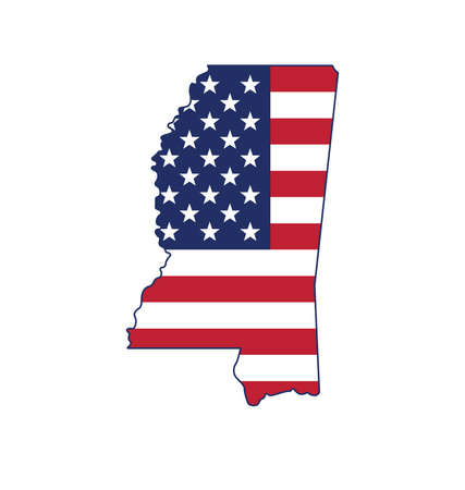 mississippi MS state shape with USA united states of america flag vector