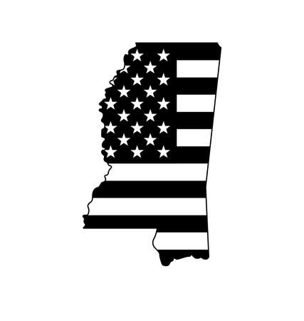mississippi MS state shape with USA united states of america flag black and white vector
