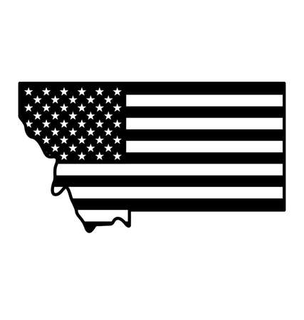 Montana MT state map simplified with USA flag black and white vector